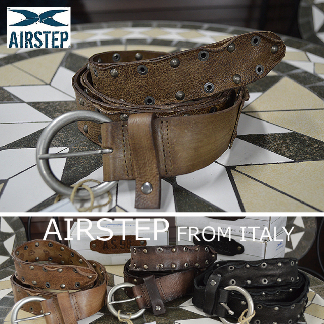 ベルト メンズ 本革 レザーベルト イタリア製AIRSTEP レザー スタッズベルト メンズ ベルト 824267 Leather Belt メンズ