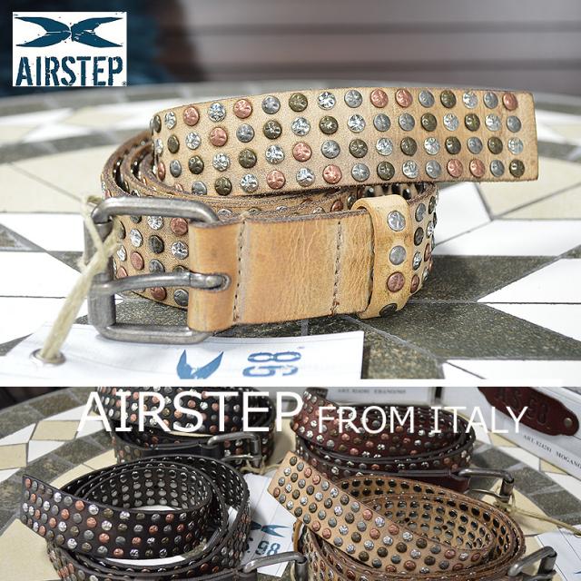 ベルト メンズ 本革 レザースタッズベルト AIRSTEP イタリア製 レザーベルト Leather Belt メンズ 824281