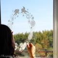 大小二枚セット【ガラス専用 大きな輪飾りと天使  A2サイズ】+【ガラス専用クリスマス雪だるま A4サイズ】すうーっと貼ってはがせて再利用できる 日本製 ふちが透き通っていて、ガラスに貼るとキレイ