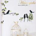 【グリッター・鳥と巣箱】きらきら光る【ゆうぱけっと対応】A4サイズ 貼ってはがせるウォールステッカー・日本製・シルクスクリーン印刷