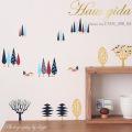 【小さな森】ウォールステッカーで楽しむ切り絵作家CHIKUの世界【メール便対応・A4サイズ】美しいシルクスクリーン印刷
