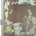 【ガラス専用ステッカー きらきらバラと天使 】すうーっと貼ってはがせて再利用できる【ゆうパケット対応・A4サイズ】日本製・シルクスクリーン印刷