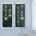 【大きな雪の結晶  A2サイズ】【ガラス専用雪だるま 付き】すうーっと貼ってはがせて再利用できる 日本製 ふちが透き通っていて、ガラスに貼るとキレイ