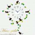 【送料無料】【HP限定セット】時計とねこの休日【壁に貼れる時計と選べるステッカーとのセット】