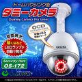防犯カメラ ダミー ダミーカメラ ドームハウジング型 明暗センサー 夜間自動発光 防雨タイプ 0S-172