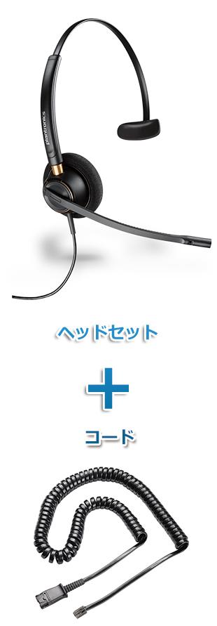 【送料無料】Plantronics(プラントロニクス)ヘッドセット(特定電話機用 HW510・38099-01 ポラリス反転ケーブルセット)