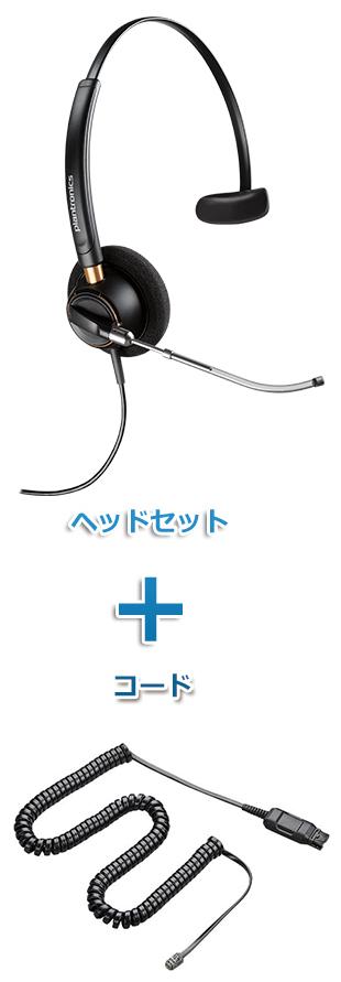 【送料無料】Plantronics(プラントロニクス) HW510V-A10-16 ワイドバンドヘッドセット(特定電話機用 HW510V・A10-16ケーブルセット)