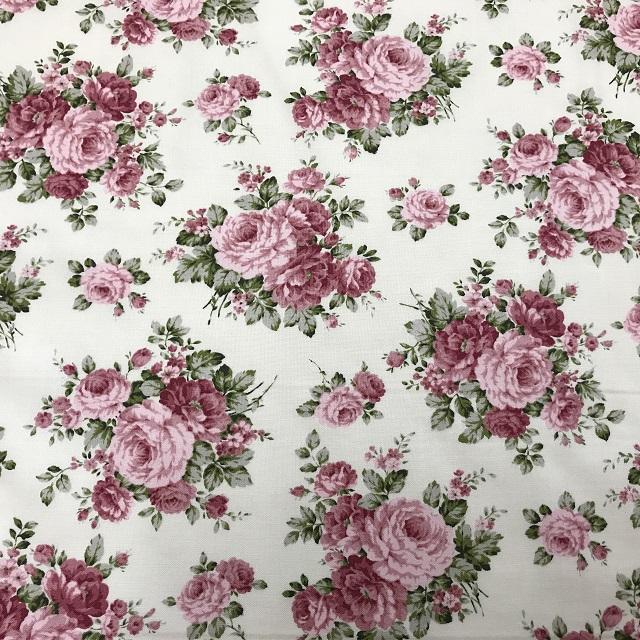 【花柄】【【パッチワーク用布】【nakamura】【メール便可】 カントリーフローラルバラ柄 ピンク