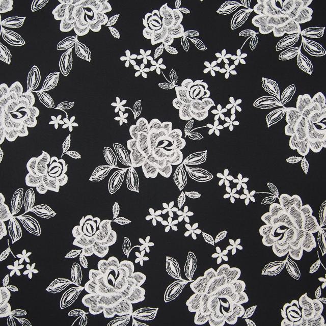 【花柄】【パッチワーク用布】【YUWA】【メール便可】La Broderie Collection シャーティング Rosier ブラック地×オフ