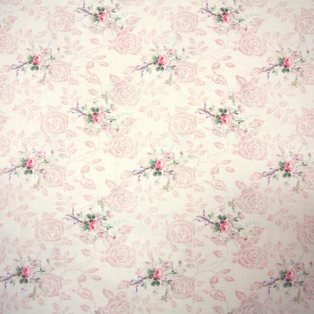 【花柄】【パッチワーク用布】【YUWA】【メール便可】広巾シャーティング Rose Shadow WIDE オフ×ピンク