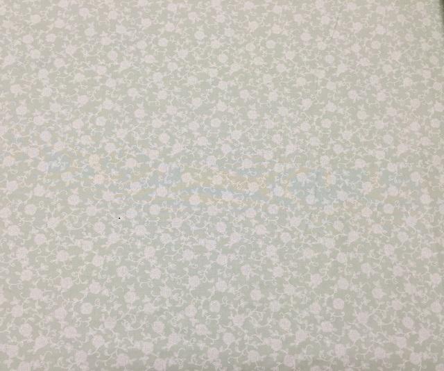 【花柄】【パッチワーク用布】【YUWA】【メール便可】 シャーティングtullu rose グリーンXオフホワイト