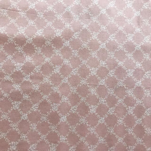 【花柄】【【パッチワーク用布】【カットクロス】【メール便可】シャーティングfairyroseミニ薔薇と格子柄 ピンク