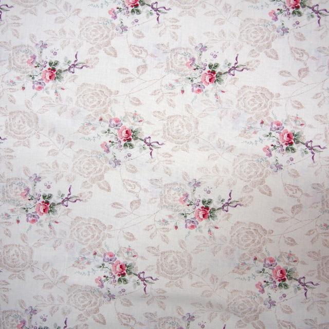 【花柄】【パッチワーク用布】【YUWA】【メール便可】広巾シャーティング Rose Shadow WIDE オフ×ベージュ