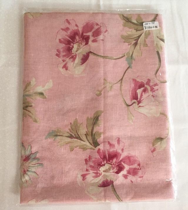 【花柄】【麻生地】【メール便可】 ピンク花柄 100cmx70cm