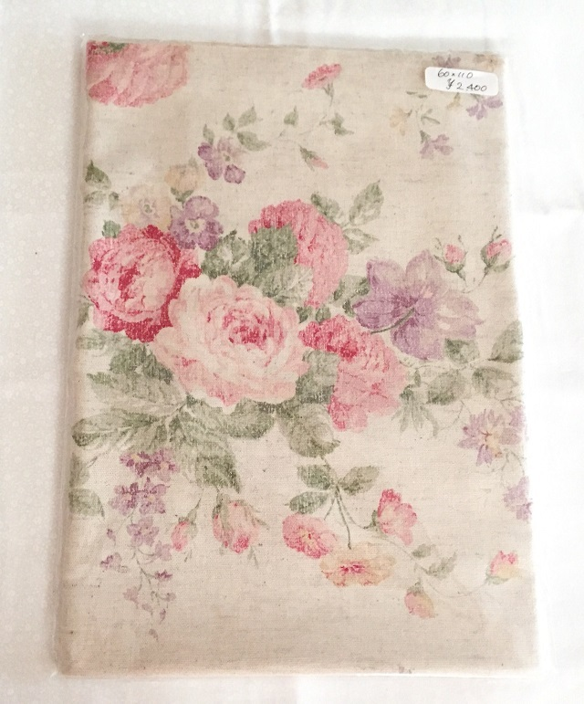 【花柄】【麻生地】【メール便可】 生成り薔薇柄 60cmx110cm
