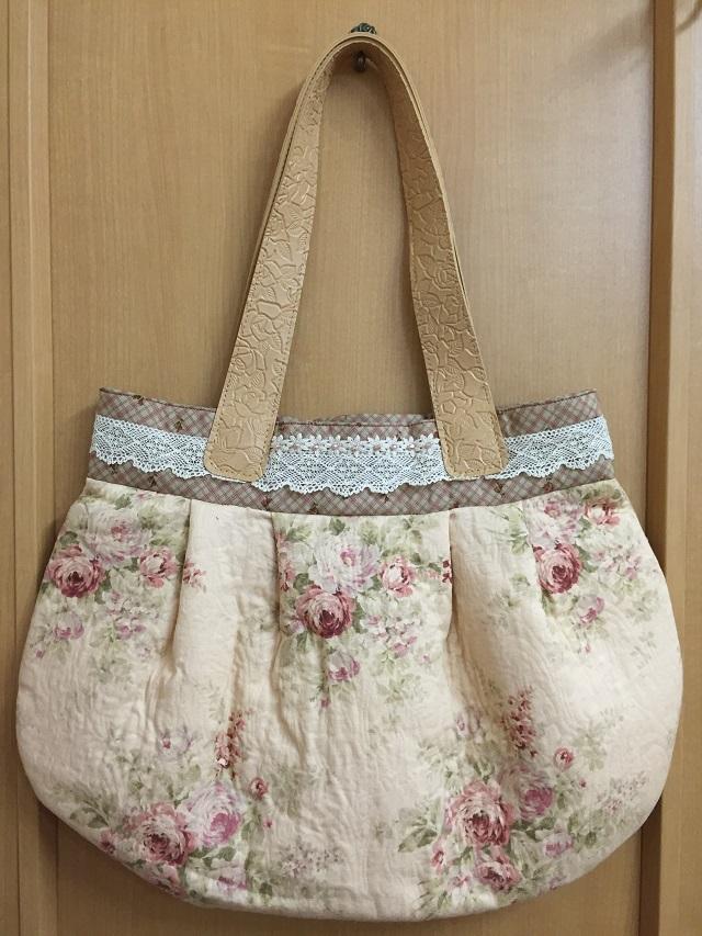 【オリジナルキット】【花柄】【バッグ】 ふくれジャガード生地の大きめバッグ