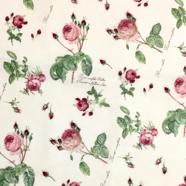 【ルドゥーテ】【薔薇柄】【布】ルドゥーテ オリジナルクロス ベージュ