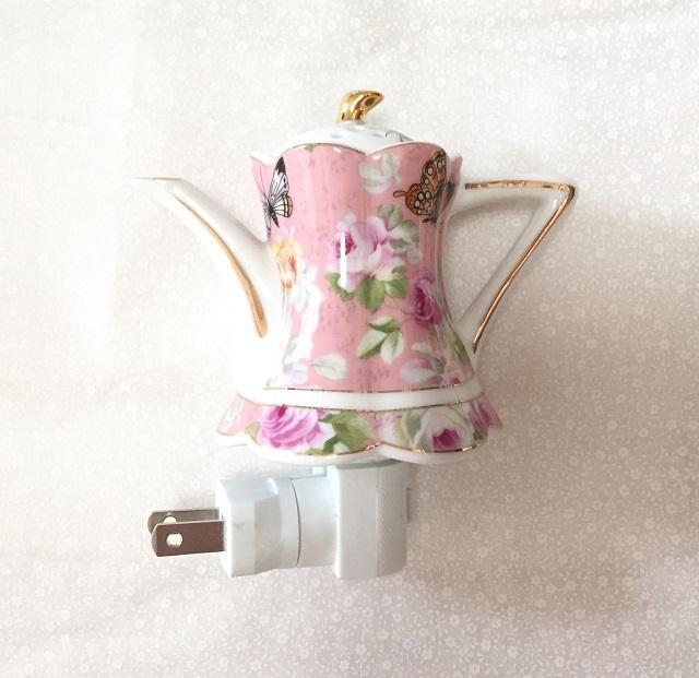 【薔薇柄】【ポット形】【陶磁器】【照明】 エレガントなポット形の足元灯