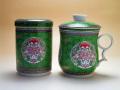 【茶漉し付きマグカップ】金彩マグ茶缶組(緑)