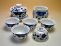 【中国茶器セット】景徳鎮骨瓷蓋碗茶器セット(縁取り青花)
