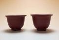 【中国茶具】紫砂朱泥茶杯二客セット
