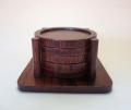 【中国茶具】丸型杯托(木製漆仕上げ)セット