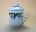 【茶漉し付きマグカップ】立体葡萄文マグカップ