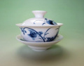 【中国茶具】景徳鎮白磁蓋碗(蓮・魚)
