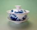 【中国茶具】景徳鎮白磁蓋碗(蓮・鳥)