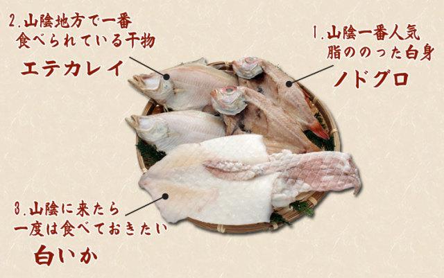 干物(ひもの)詰合 のどぐろ・えてかれい・白いか3種詰合-8尾