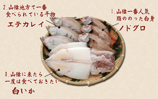 干物(ひもの)詰合 のどぐろ・えてかれい・白いか3種詰合-8尾_内容