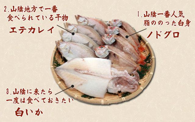 干物(ひもの)詰合 のどぐろ・えてかれい・白いか3種詰合-9尾_内容