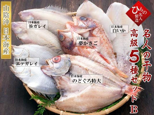 名人の干物 高級5種-B(ノドグロ特大・かさご入り)
