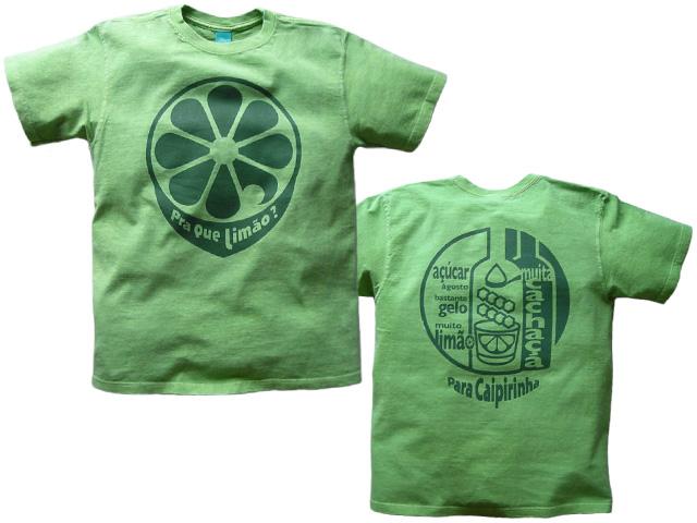 hinolismo(ヒノリズモ)-新カイピリーニャTシャツ-リマォンたっぷりが好きだから-半袖ライムグリーン