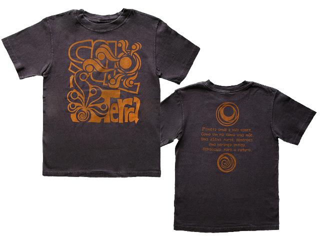 SOL e TERRA-太陽と地球のエネルギー脱原発Tシャツ-半袖ブラウン-ブラジルと日本をTシャツでデザインするお店hinolismoヒノリズモ