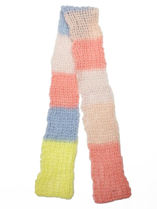ニット、マフラー、手編み、モヘア、パステル
