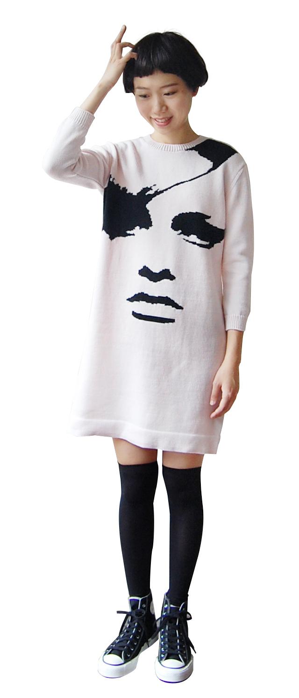 ツイッギ―柄 8分袖ニットドレス