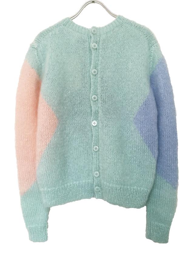 ニット、アーガイル、プルオーバー、モヘア、手編み