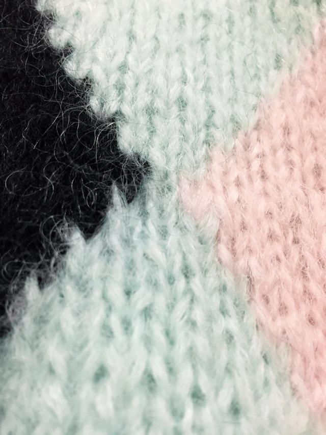 ニット、アーガイル、パステルカラー、モヘア、手編み