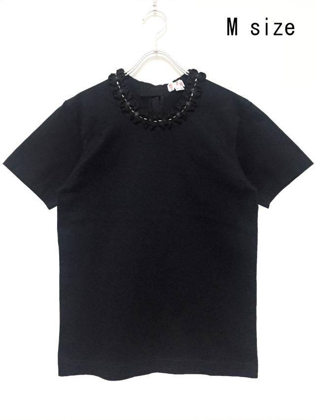 リボン、Tシャツ、ビーズ、ビジュー、半袖