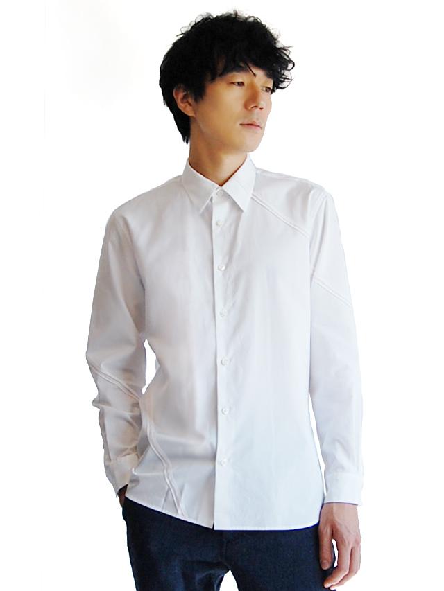 100/2ブロード ラインパッチワークシャツ