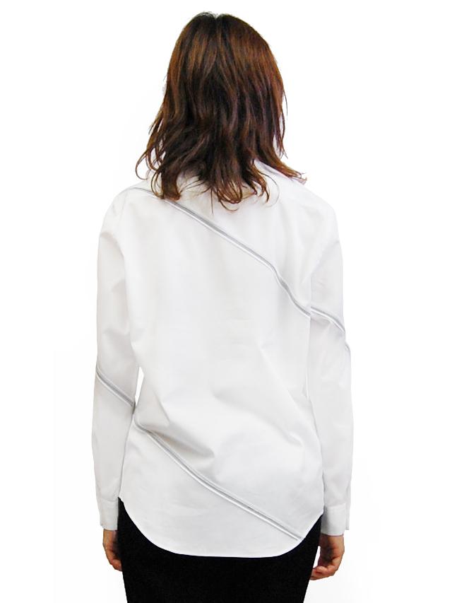 100/2ブロード ラインパッチワークベーシックシャツ