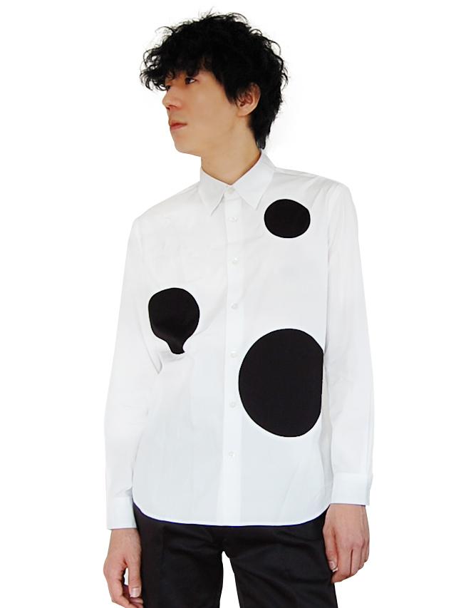100/2ブロード 水玉パッチワークシャツ