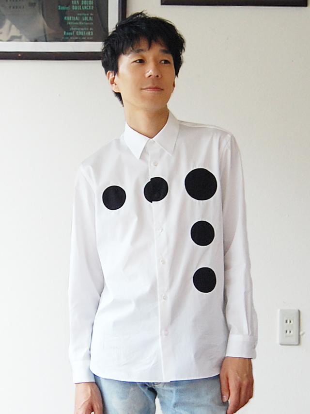100/2ブロード ドットラインシャツ