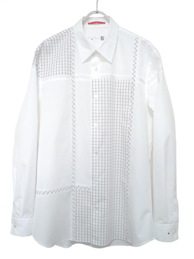 メンズ、シャツ、チェック、ブロッキング、長袖