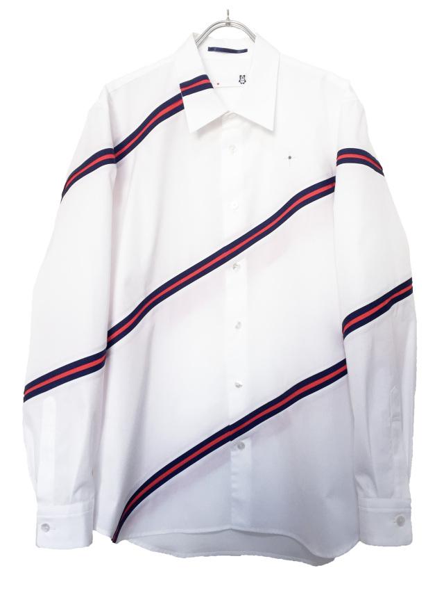 メンズ、シャツ、レジメンタル、ストライプ、長袖