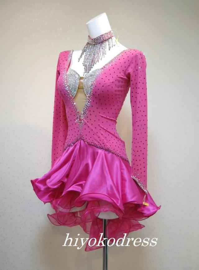 L1082 ハワイアンピンク 袖付きラテンドレス