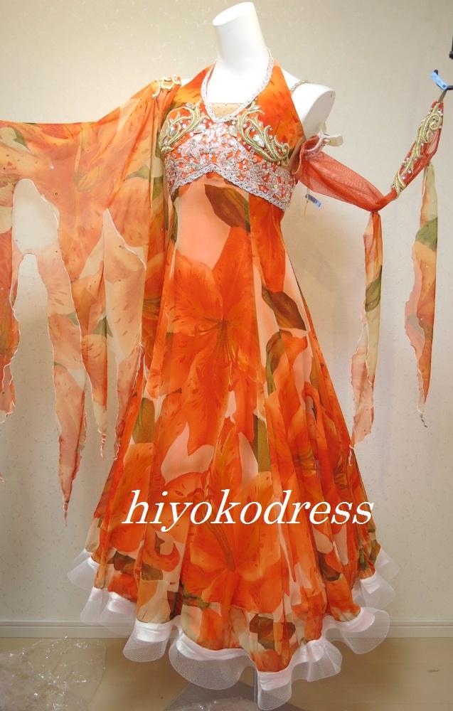 M1017 オレンジ花柄スタンダードドレス