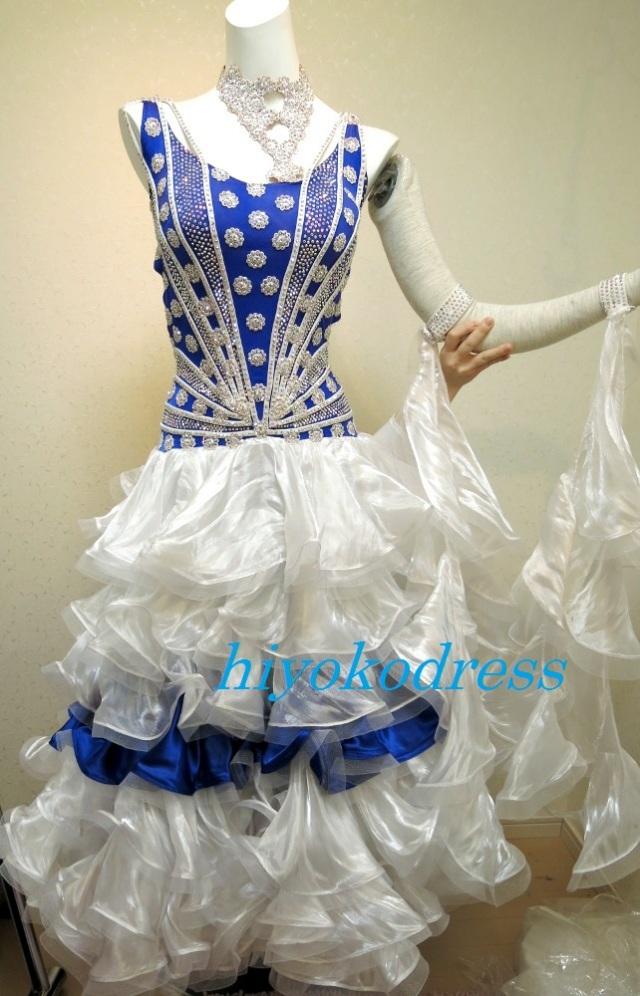 M1028 白ブルー フリルスタンダードドレス