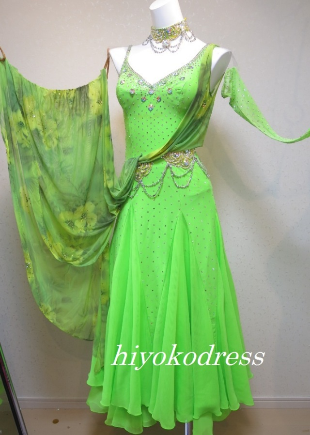 M1117 タカダンス製 蛍光黄緑ドレス(フロート花柄)